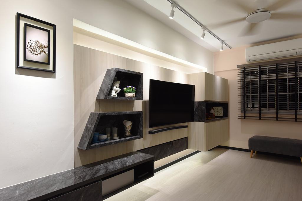 Scandinavian, HDB, Living Room, Ang Mo Kio (Block 221), Interior Designer, Starry Homestead, Fireplace, Hearth, Indoors, Interior Design