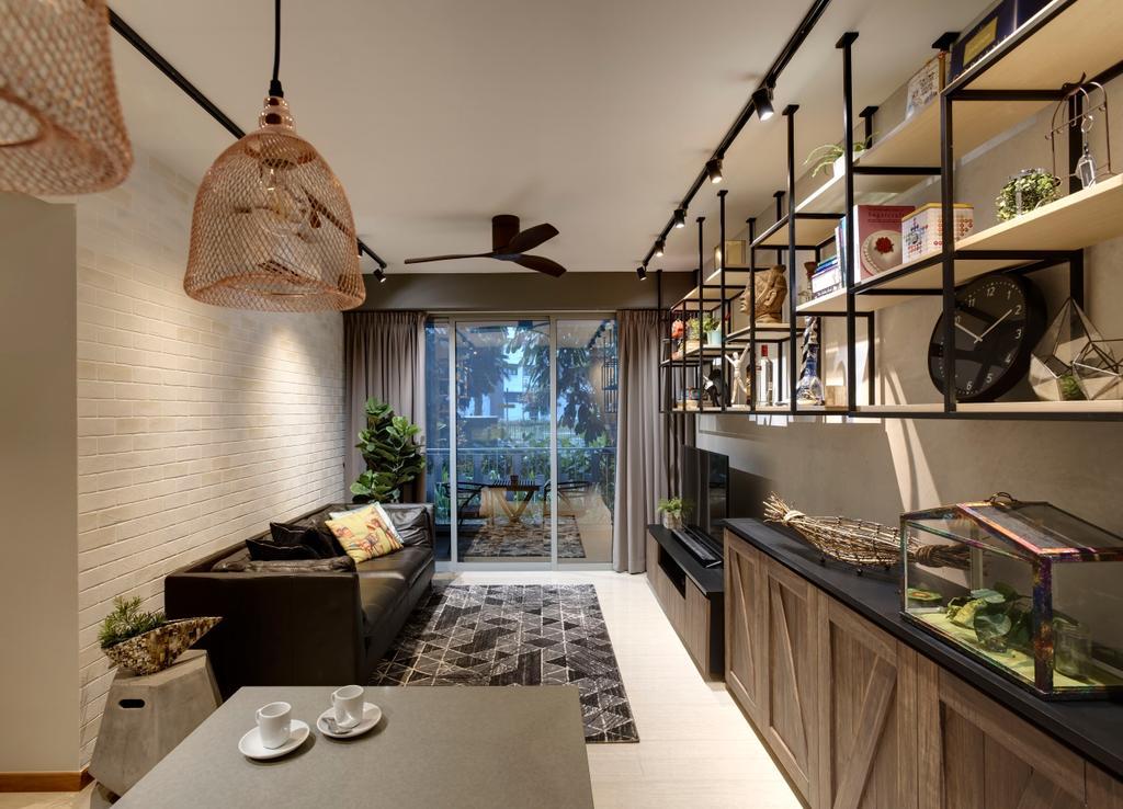 Industrial, Condo, Living Room, Flo Residence (House 1), Interior Designer, Juz Interior, Clock, Indoors, Interior Design