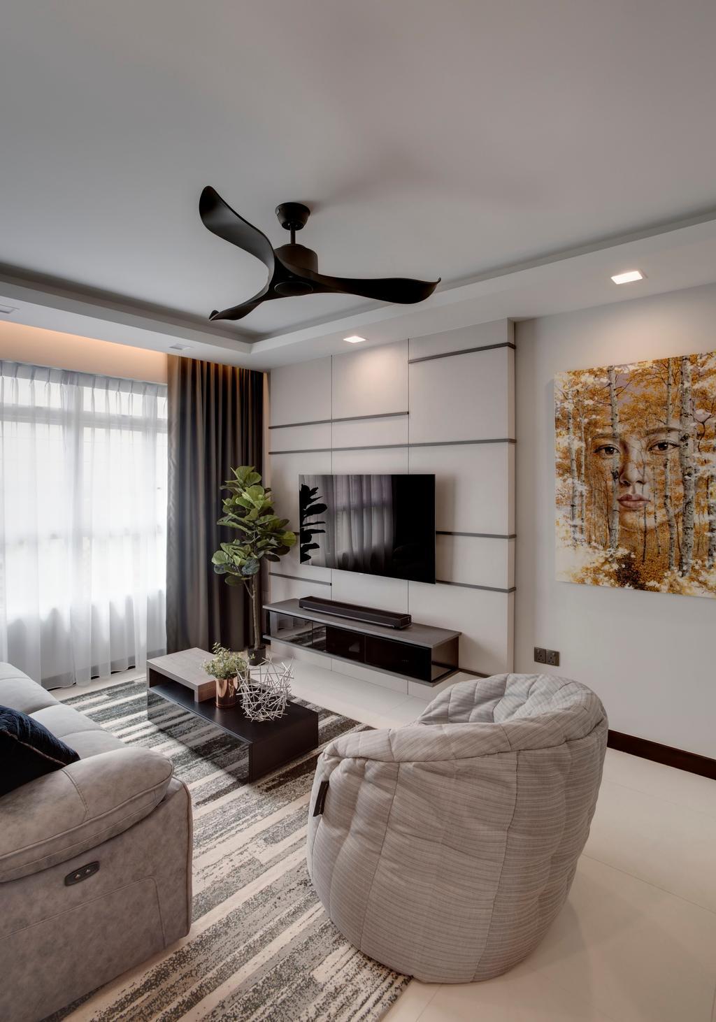 Modern, HDB, Living Room, Whampoa Dew (House 1), Interior Designer, Juz Interior, Flora, Jar, Plant, Potted Plant, Pottery, Vase, Couch, Furniture, Indoors, Room