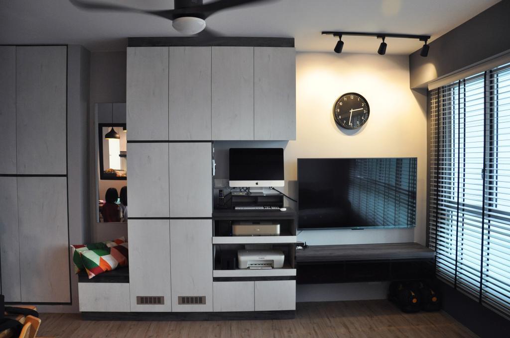 Scandinavian, HDB, Living Room, Clementi Avenue 4 (Block 312A), Interior Designer, Aritz Design & Construction, Electronics, Entertainment Center, Home Theater