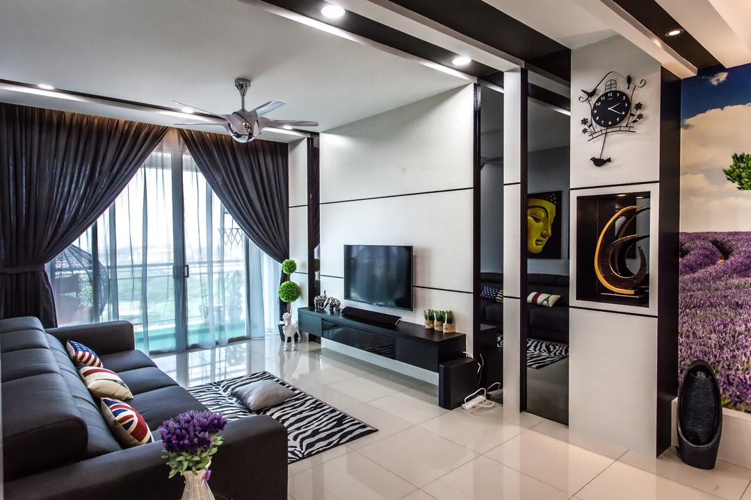 Shinvilla, Zeng Interior Design Space, Modern, Living Room, Condo, Feature Wall, Tv Console, Tv Cabinet, Carpet, Sofa, Leather Sofa, Couch, Curtains, Black, Ceiing Fan, Furniture, Clock, Wall Clock, Flora, Jar, Plant, Potted Plant, Pottery, Vase