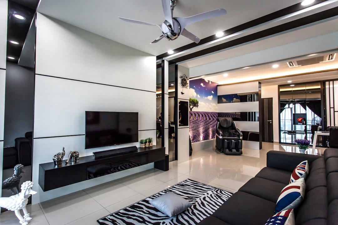 Shinvilla, Zeng Interior Design Space, Modern, Living Room, Condo, Ceiling Fan, Tv Console, Tv Cabine, Feature Wall, Carpet, Couch, Leather Sofa, Sofa, Furniture