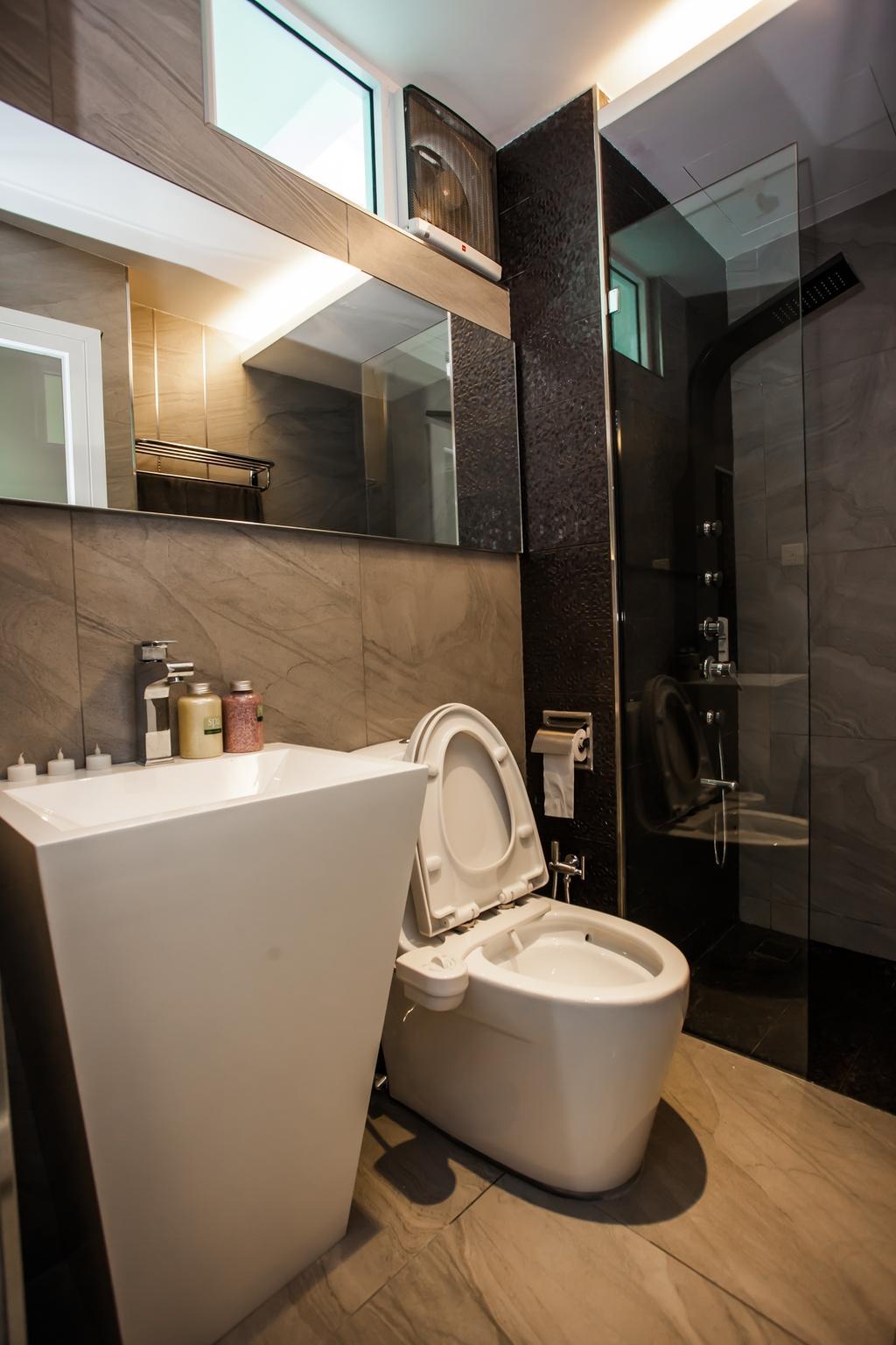 Modern, Condo, Bathroom, Tanjung Heights, Interior Designer, Zeng Interior Design Space, Bathroom Vanity, Mirror, Bathroom Sink, Sink, Shower Screen, Bathroom Tiles, Indoors, Interior Design, Room, Toilet