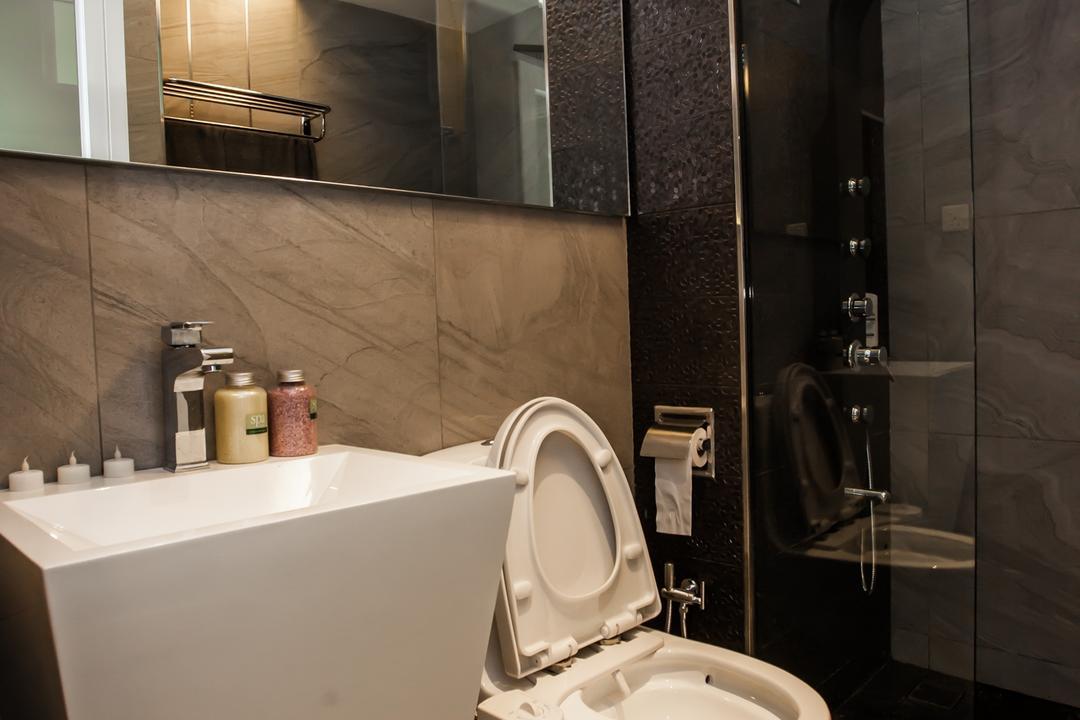 Tanjung Heights, Zeng Interior Design Space, Modern, Bathroom, Condo, Bathroom Vanity, Mirror, Bathroom Sink, Sink, Shower Screen, Bathroom Tiles, Indoors, Interior Design, Room, Toilet