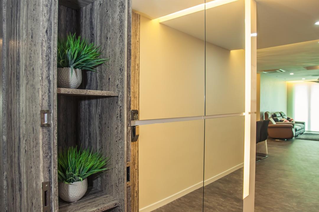 Tanjung Heights, Zeng Interior Design Space, Modern, Condo, Shoe Cabinet, Cabinetry, Cabinets, Mirror, Door, Sliding Door