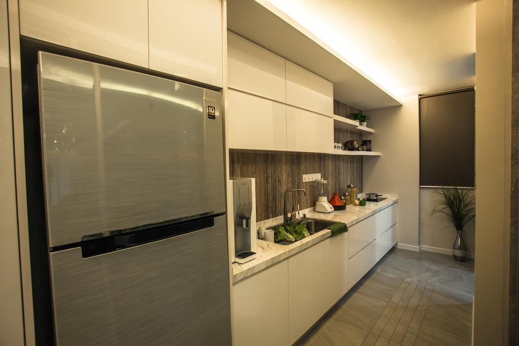 Modern, Condo, Kitchen, Tanjung Heights, Interior Designer, Zeng Interior Design Space, Refrigerator, Cabinetry, Kichen Cabinet, Door, Sliding Door