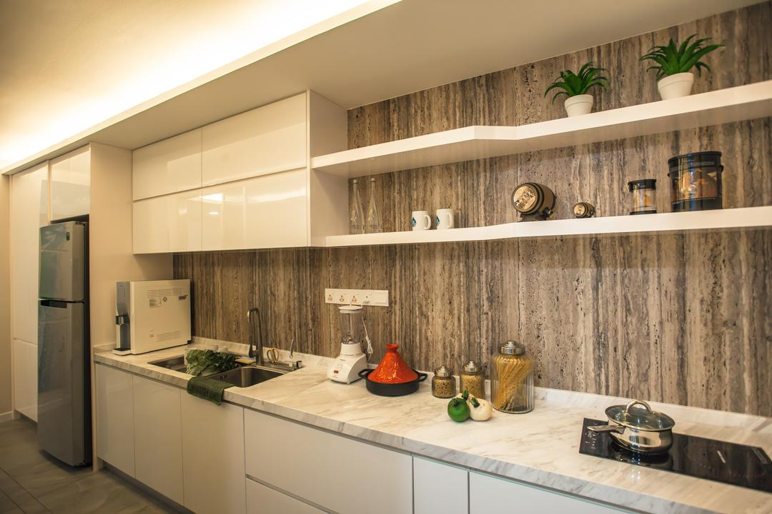 Tanjung Heights, Zeng Interior Design Space, Modern, Kitchen, Condo, Kitchen Cabinet, Cabinetry, Shelves, Shelving, Kitchen Sink, Sink, Marble Countertop, Stove, Flora, Jar, Plant, Potted Plant, Pottery, Vase, Indoors, Interior Design, Room, Shelf