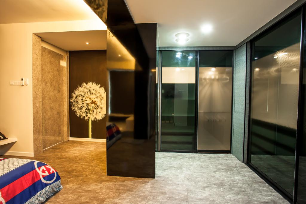 Modern, Condo, Bedroom, Tanjung Heights, Interior Designer, Zeng Interior Design Space, Wardrobe, Black, Ceiling Light, Blossom, Dandelion, Flora, Flower, Plant, Jar, Potted Plant, Pottery, Vase, Corridor, Flooring