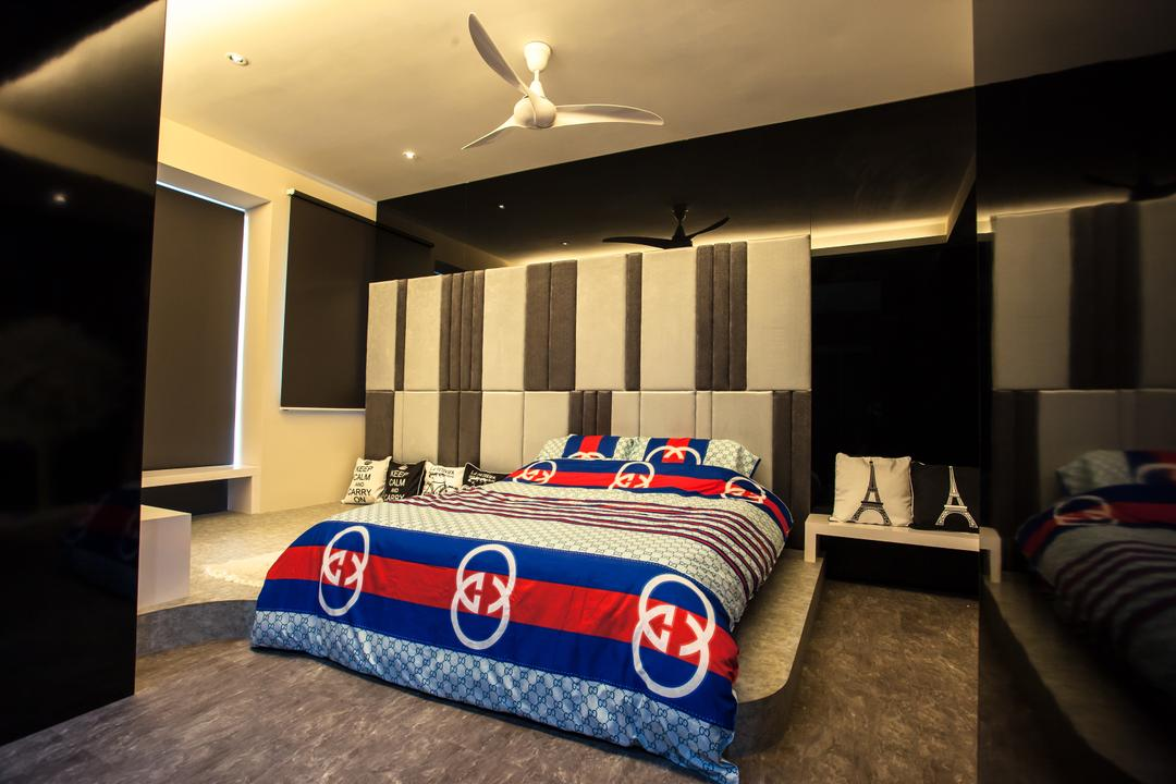 Tanjung Heights, Zeng Interior Design Space, Modern, Bedroom, Condo, Headboard, Bedsheet, Ceiling Fan, Concealed Lighting, Cove Lighting, Black, Black White, Pillow, Bed, Furniture, Couch, Indoors, Room