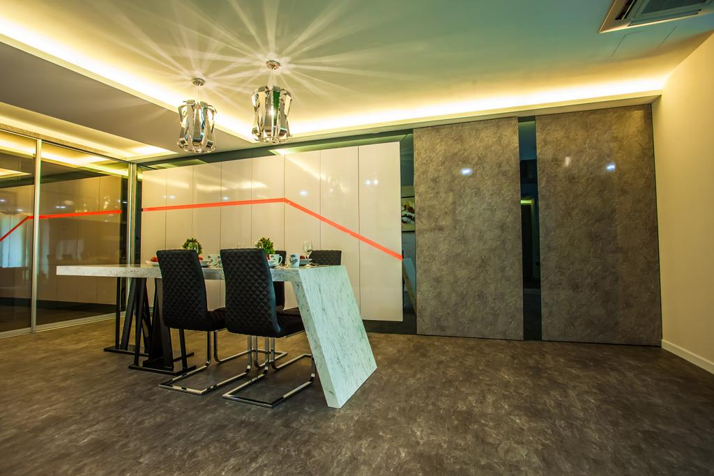 Modern, Condo, Dining Room, Tanjung Heights, Interior Designer, Zeng Interior Design Space, Cove Lighting, Concealed Lighting, Dining Table, Dining Room Chairs, Chairs, Pendant Lamps, Hanging Lamps, Cement Screed, Concrete, Partition, Hidden Door, Chair, Furniture, Couch