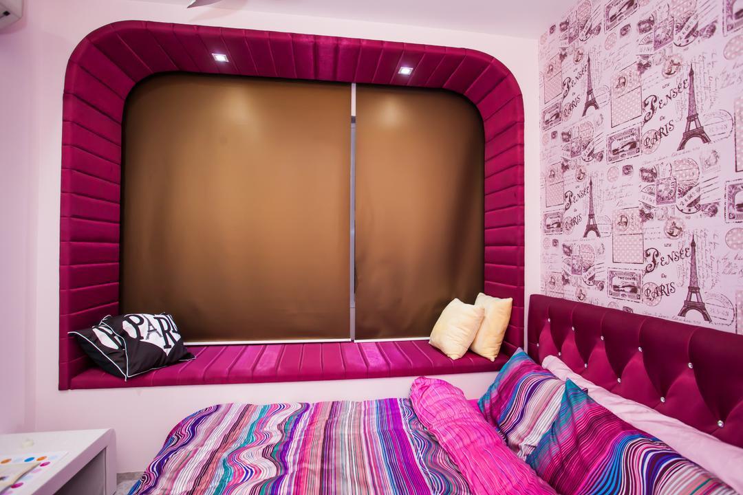 Tanjung Heights, Zeng Interior Design Space, Modern, Bedroom, Condo, Wallpaper, Pink, Kids, Kids Room, Girly, Girls, Bay Window