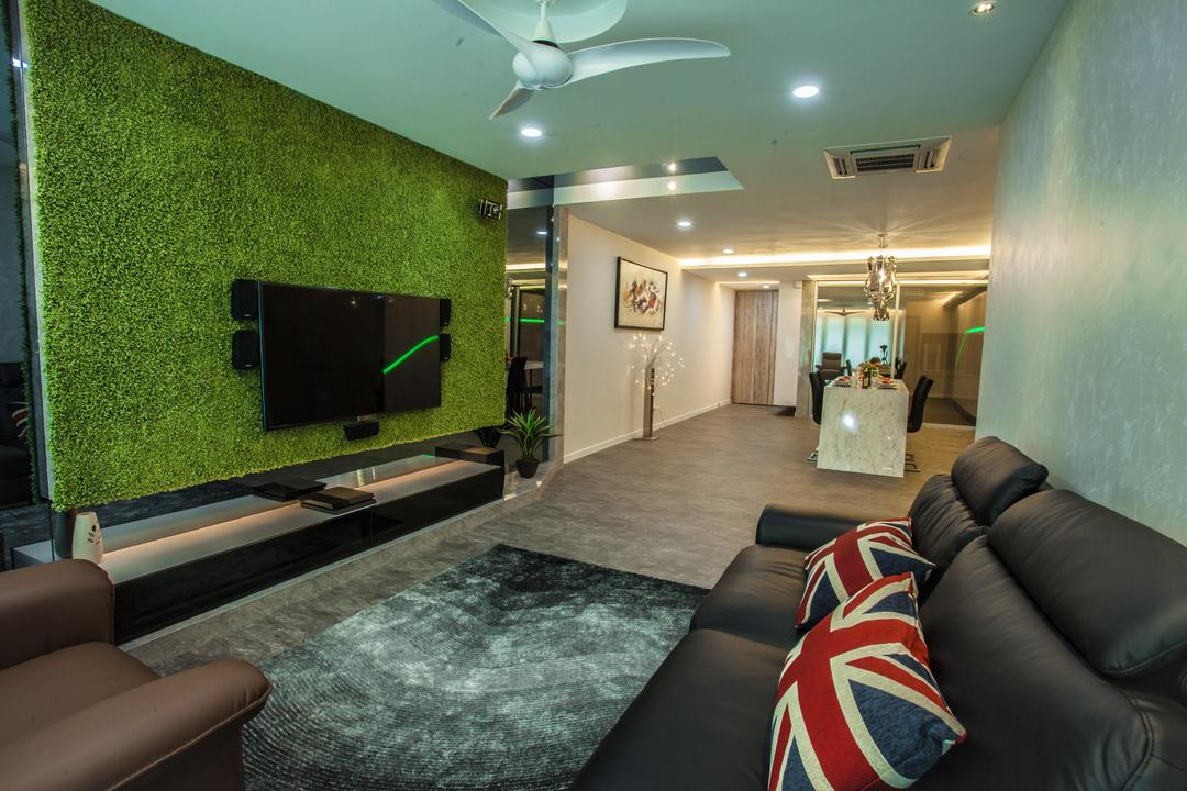 Tanjung Heights, Zeng Interior Design Space, Modern, Living Room, Condo, Sofa, Couch, Leather Sofa, Pillow, Carpet, Feature Wall, Artificial Grass, Tv Console, Tv Cabinet, Downlight, Furniture