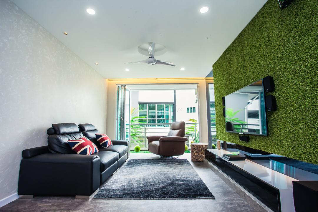 Tanjung Heights, Zeng Interior Design Space, Modern, Living Room, Condo, Feature Wall, Artificial Grass, Tv Console, Tv Cabinet, Carpet, Sofa, Leather Sofa, Couch, Pillow, Armchair, Downlight, Furniture, Apartment, Building, Housing, Indoors