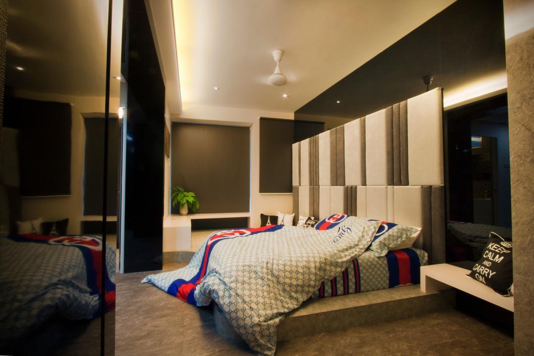 Tanjung Heights, Zeng Interior Design Space, Modern, Bedroom, Condo, Headboard, Bedsheet, Black, Concealed Lighting, Flora, Jar, Plant, Potted Plant, Pottery, Vase, Couch, Furniture