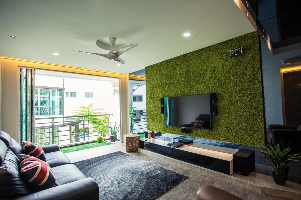 Modern, Condo, Living Room, Tanjung Heights, Interior Designer, Zeng Interior Design Space, Tv Console, Tv Cabinet, Artificial Grass, Feature Wall, Carpet, Leather Sofa, Sofa, Couch, Ceiling Fan, Downlight, Flora, Jar, Plant, Potted Plant, Pottery, Vase