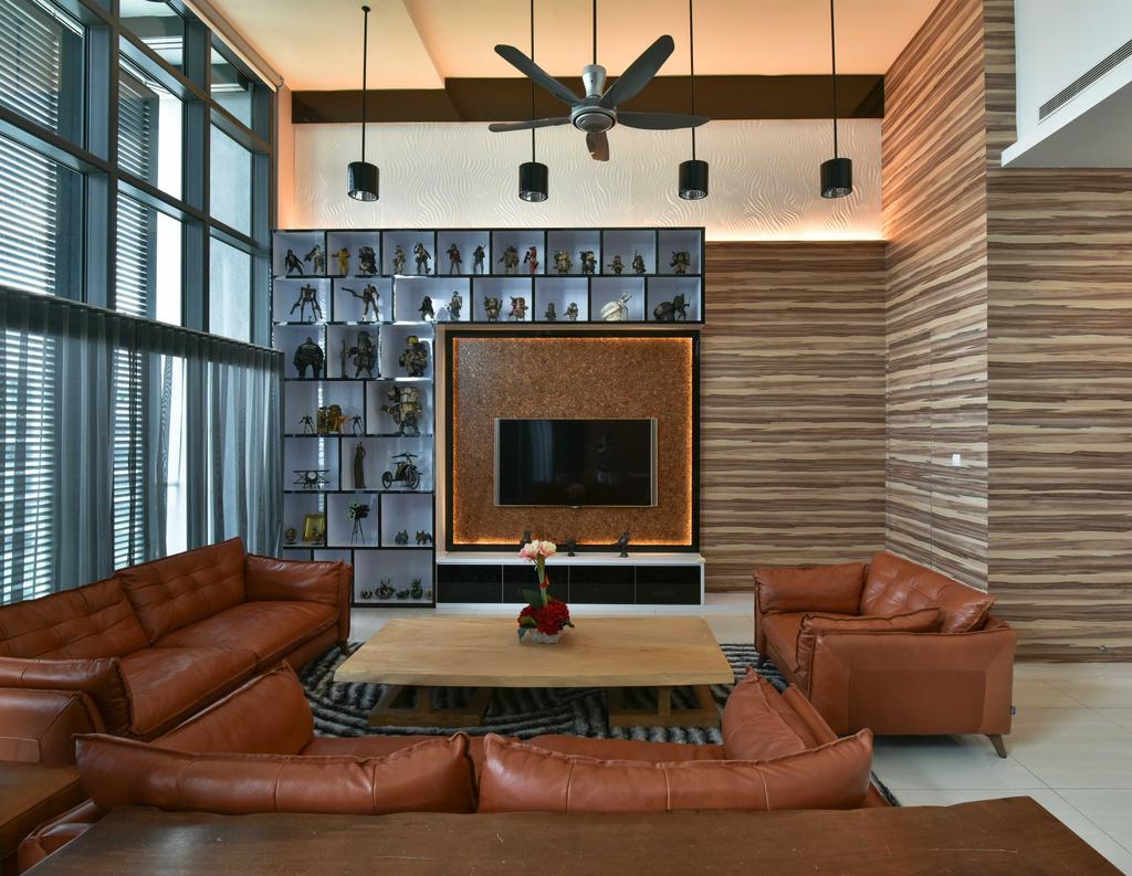 Modern, Condo, Living Room, Tropicana Grande, Interior Designer, Mode Interior Style, Couch, Furniture, Propeller, Chair, Fireplace, Hearth, Indoors, Interior Design, Room