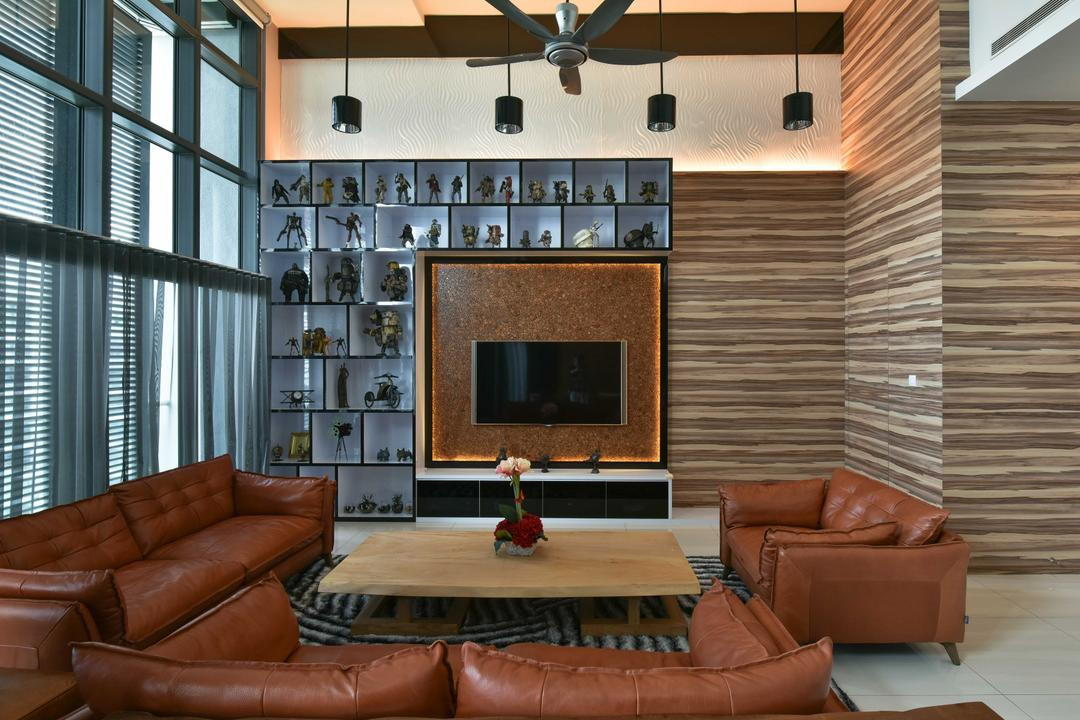 Tropicana Grande, Mode Interior Style, Modern, Living Room, Condo, Couch, Furniture, Propeller, Chair, Fireplace, Hearth, Indoors, Interior Design, Room