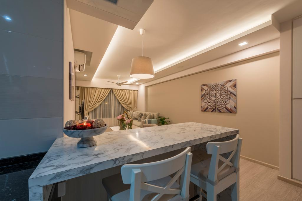 Scandinavian, HDB, Dining Room, Jurong West Central, Interior Designer, Fifth Avenue Interior, Dining Table, Furniture, Table, Indoors, Interior Design, Room, Bar Stool, Chair