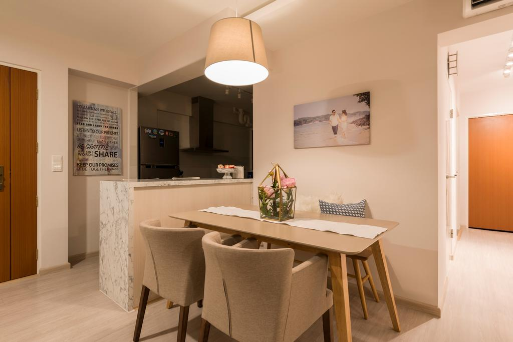 Scandinavian, HDB, Dining Room, Jurong West Central, Interior Designer, Fifth Avenue Interior, Indoors, Interior Design, Room, Couch, Furniture, Chair, Bar Stool, Dining Table, Table, Kitchen, Sink