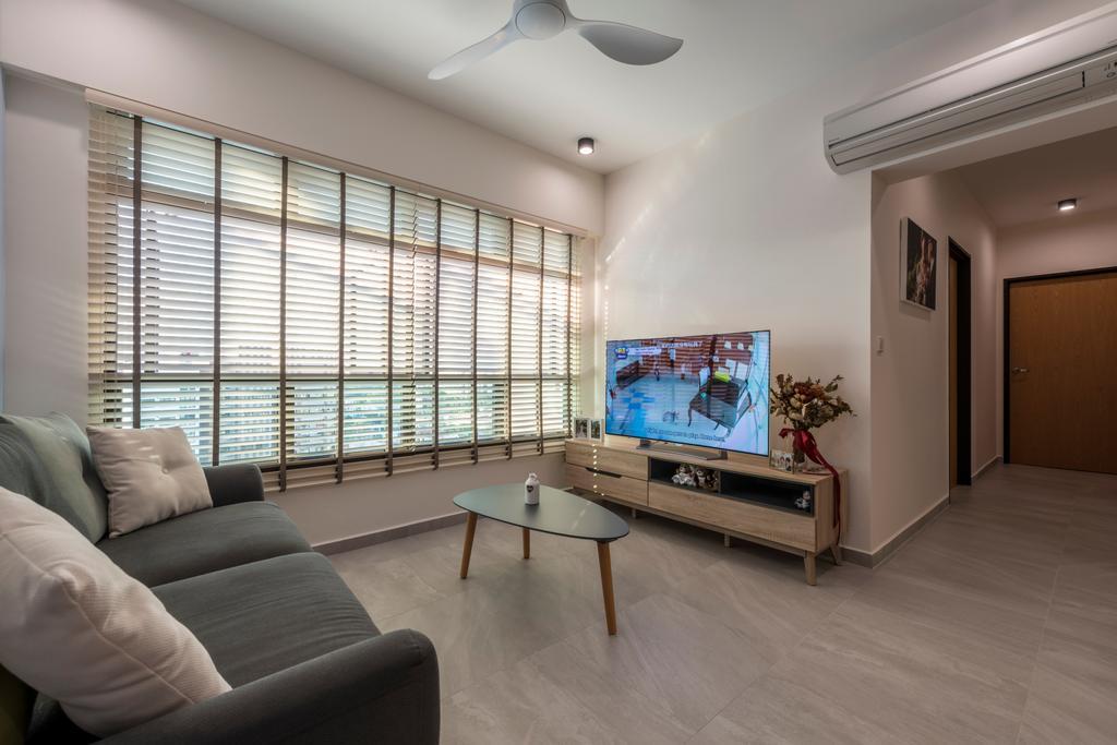Scandinavian, HDB, Living Room, Upper Serangoon Road (Block 365C), Interior Designer, Fifth Avenue Interior, Couch, Furniture