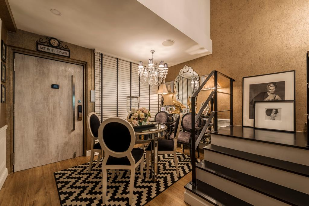 Eclectic, HDB, Dining Room, Woodlands Ring Road, Interior Designer, Fifth Avenue Interior, Banister, Handrail, Staircase, Indoors, Interior Design, Room, Chair, Furniture