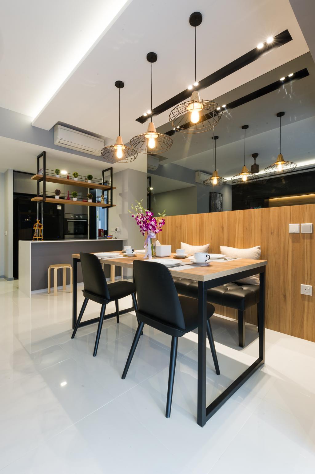 Scandinavian, Condo, Dining Room, Ecopolitan, Interior Designer, ELPIS Interior Design, Chair, Furniture, Dining Table, Table, Bar Stool, Indoors, Interior Design, Room, Lighting