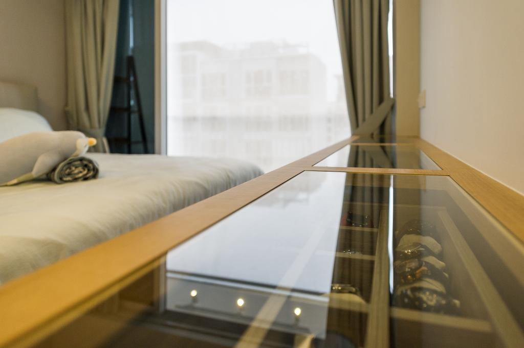 Scandinavian, Condo, Bedroom, Ecopolitan, Interior Designer, ELPIS Interior Design, Bed, Furniture, Banister, Handrail, Staircase, Indoors, Interior Design