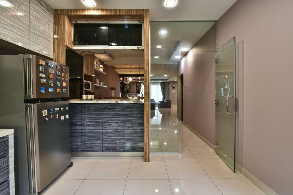 Transitional, Landed, Kitchen, Suria Tropika, Interior Designer, Mode Interior Style, Sink, Door, Sliding Door