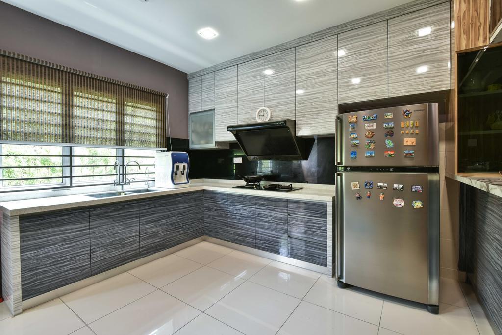 Transitional, Landed, Kitchen, Suria Tropika, Interior Designer, Mode Interior Style, Appliance, Electrical Device, Fridge, Refrigerator