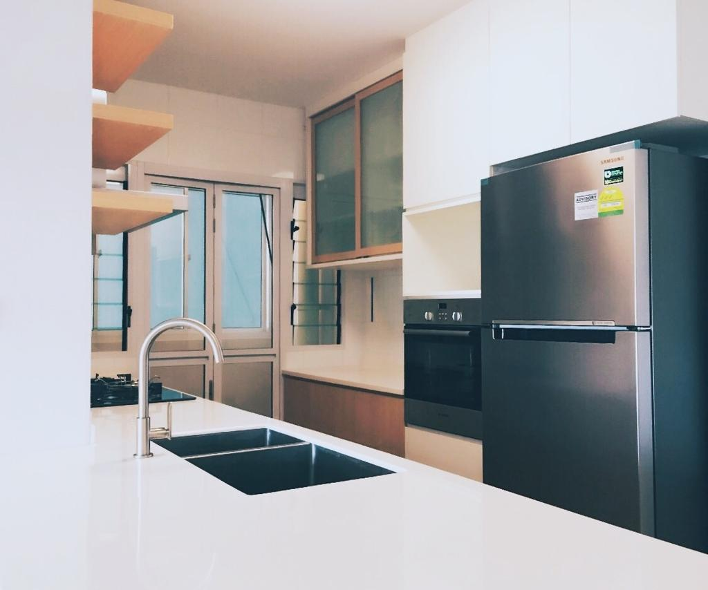 Scandinavian, HDB, Kitchen, Compassvale Ancilla, Interior Designer, The Interior.Look, Appliance, Electrical Device, Fridge, Refrigerator, Banister, Handrail