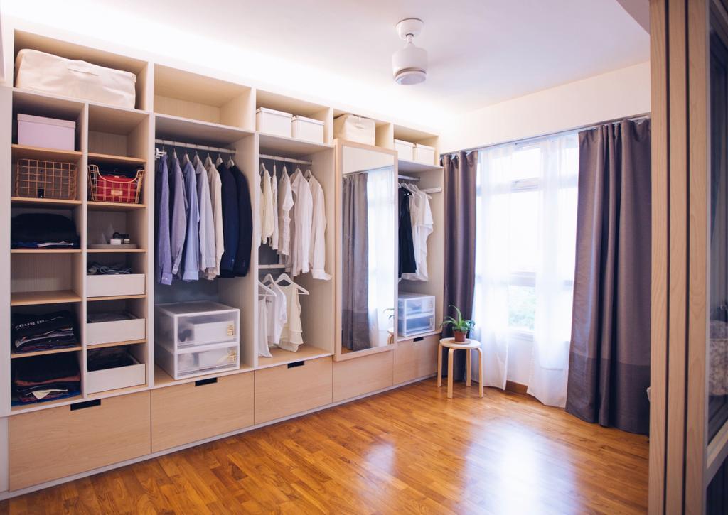 Scandinavian, HDB, Bedroom, Compassvale Ancilla, Interior Designer, The Interior.Look, Closet, Flooring, Furniture, Wardrobe, Floor