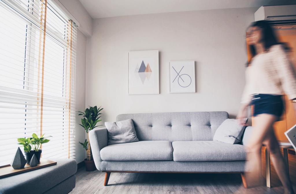 Scandinavian, HDB, Living Room, Compassvale Ancilla, Interior Designer, The Interior.Look, Human, People, Person, Couch, Furniture, Flora, Jar, Plant, Potted Plant, Pottery, Vase, Planter