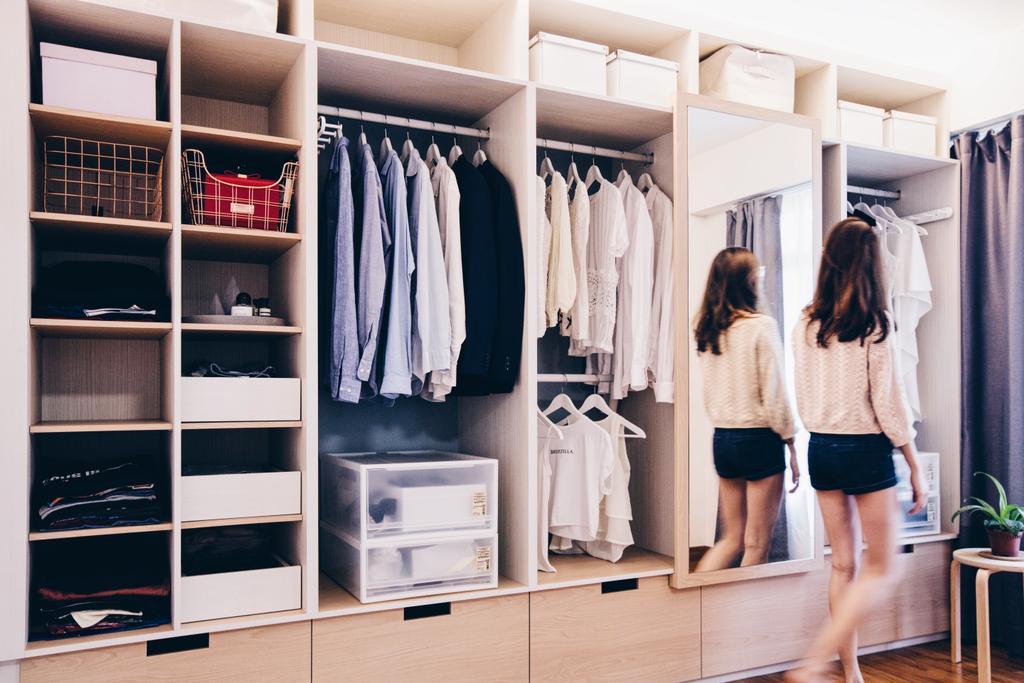 Scandinavian, HDB, Bedroom, Compassvale Ancilla, Interior Designer, The Interior.Look, Human, People, Person, Closet, Back, Towel, Furniture, Wardrobe