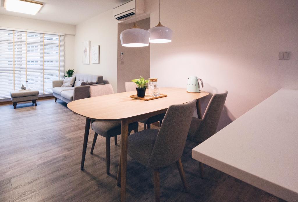 Scandinavian, HDB, Dining Room, Compassvale Ancilla, Interior Designer, The Interior.Look, Chair, Furniture, Dining Table, Table, Indoors, Interior Design, Room