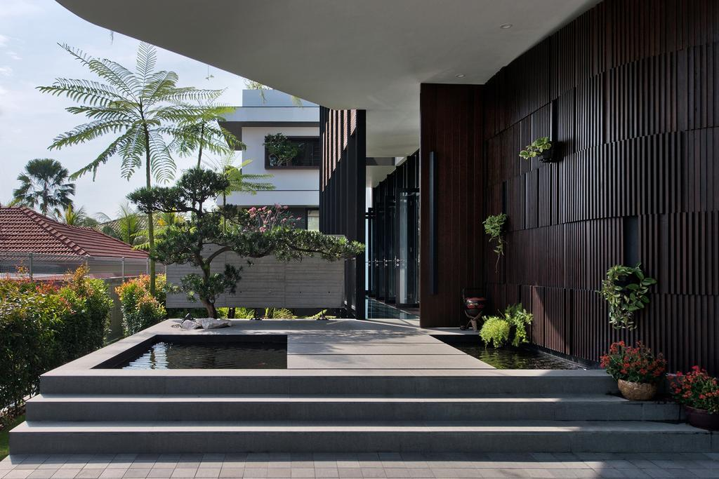 Contemporary, Landed, Garden, Toh Heights, Architect, Kite Studio Architecture, Porch, Foyer, Wood Wall, Plants, Steps, Flora, Jar, Plant, Potted Plant, Pottery, Vase, Bonsai, Tree