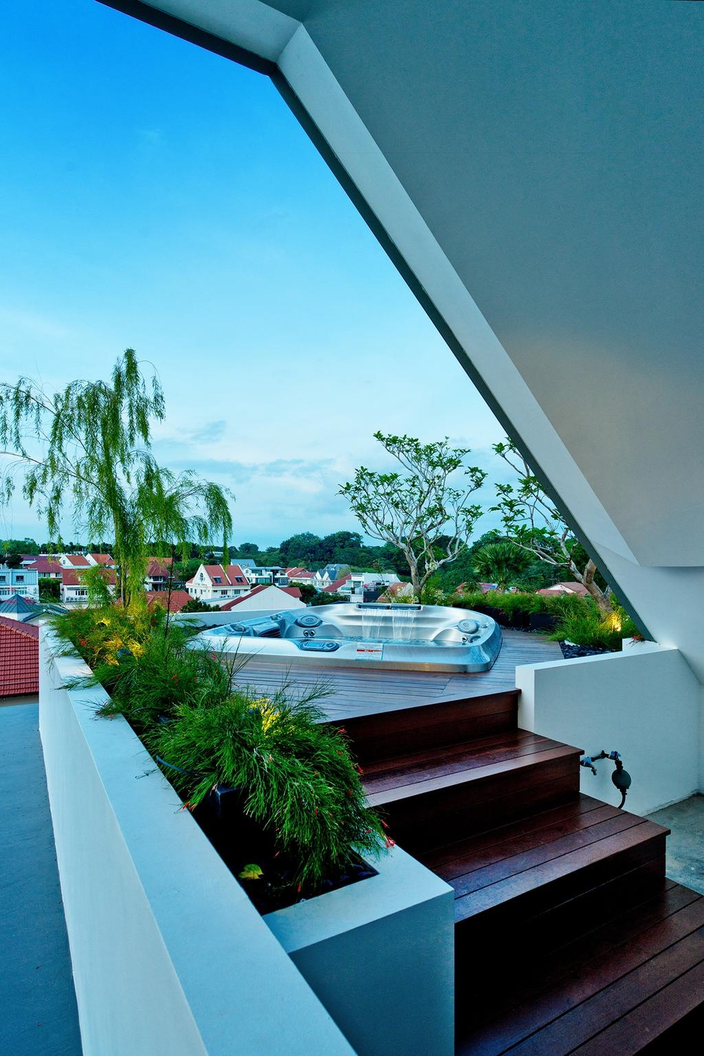 Contemporary, Landed, Toh Heights, Architect, Kite Studio Architecture, Jacuzzi, Entertainment, Deck, Wooden Deck, Outdoor Deck, Attic, Spa, Lounge, Flora, Jar, Plant, Potted Plant, Pottery, Vase, Boat, Transportation, Vessel, Watercraft