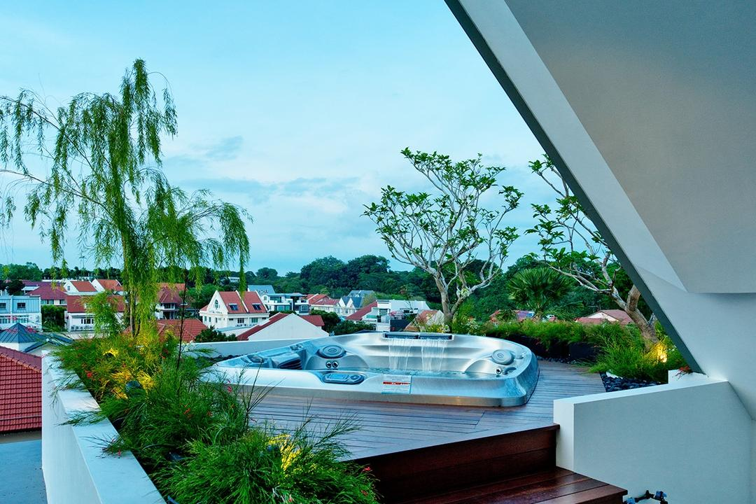 Toh Heights, Kite Studio Architecture, Contemporary, Landed, Jacuzzi, Entertainment, Deck, Wooden Deck, Outdoor Deck, Attic, Spa, Lounge, Flora, Jar, Plant, Potted Plant, Pottery, Vase, Boat, Transportation, Vessel, Watercraft