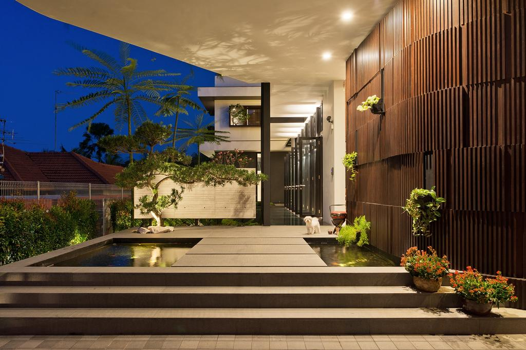 Contemporary, Landed, Garden, Toh Heights, Architect, Kite Studio Architecture, Plants, Wood Wall, Down Light, Flora, Jar, Plant, Potted Plant, Pottery, Vase