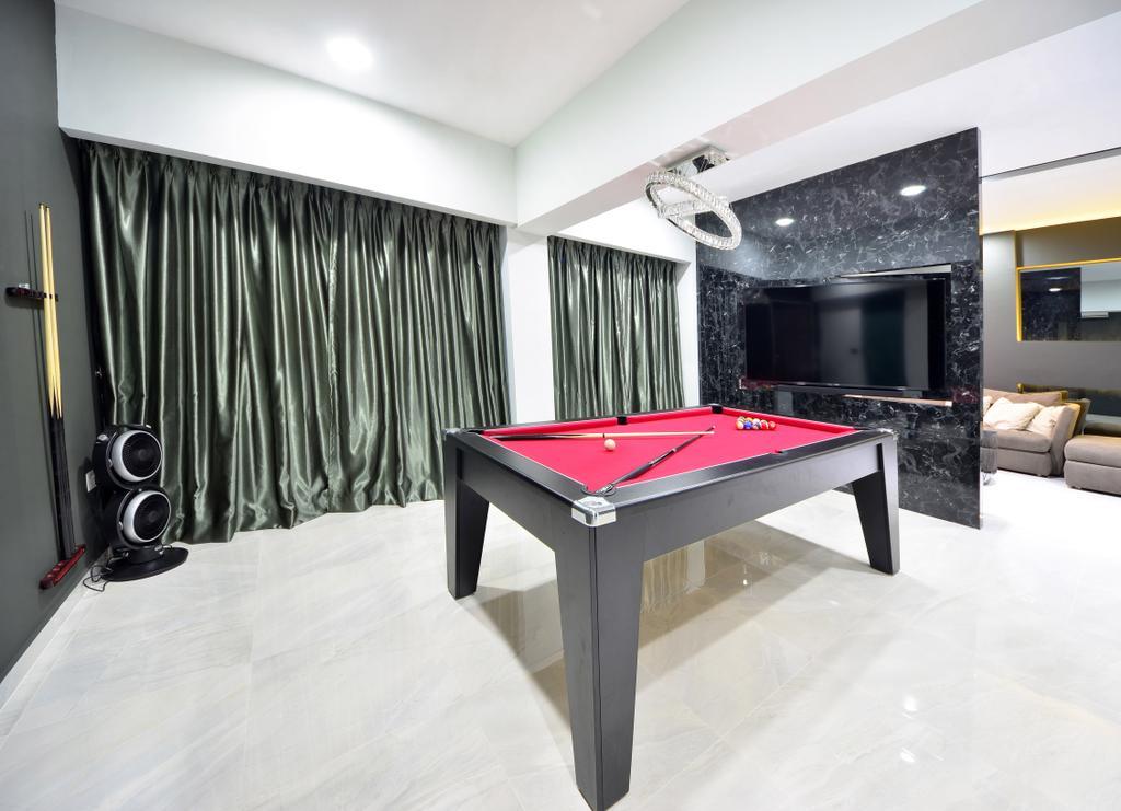 Modern, HDB, Study, Skyline II, Interior Designer, Jialux Interior, Billiard Room, Furniture, Indoors, Pool Table, Room, Table