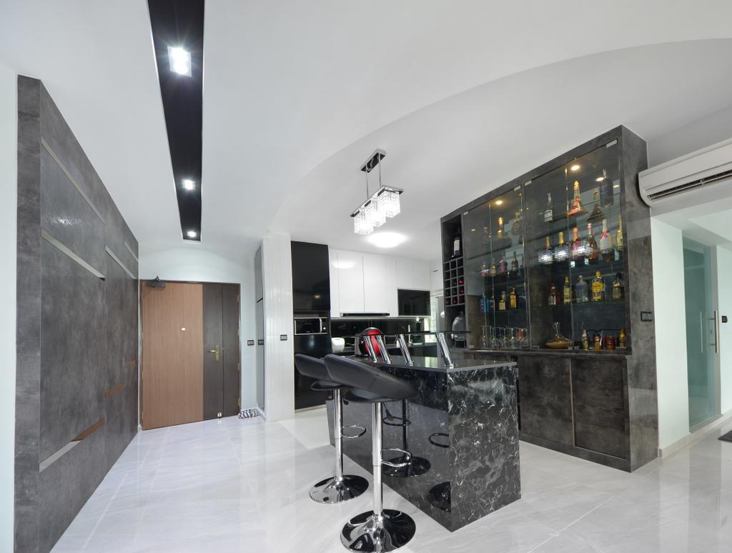 Modern, HDB, Dining Room, Skyline II, Interior Designer, Jialux Interior, Bar Stool, Furniture