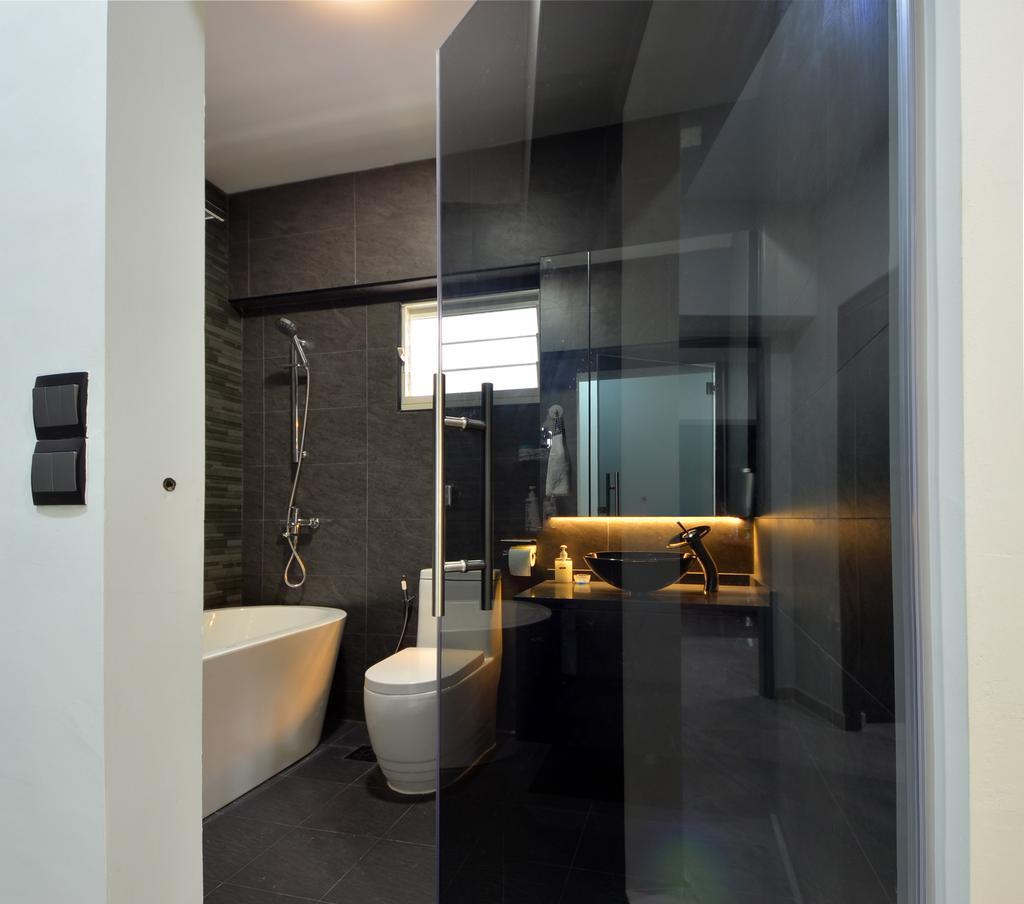 Modern, HDB, Bathroom, Skyline II, Interior Designer, Jialux Interior, Sink, Indoors, Interior Design, Room, Door, Sliding Door