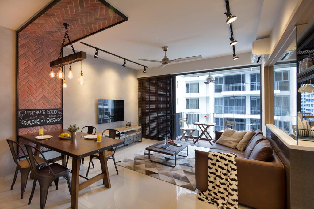 Industrial, Condo, Dining Room, Twin Fountains, Interior Designer, Versaform, Dining Table, Furniture, Table, Couch, Chair, Indoors, Room
