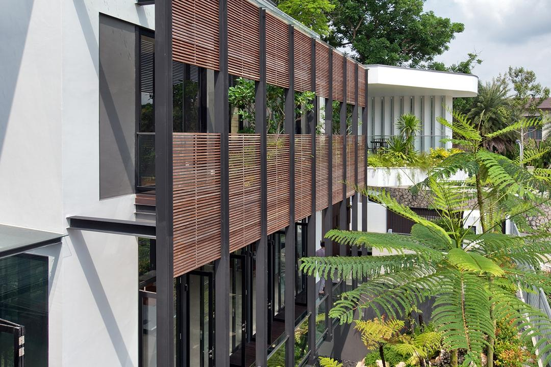 Toh Heights, Kite Studio Architecture, Contemporary, Garden, Landed, Exterior, Facade, Ventilation, Plants, Landscaping, Fern, Flora, Plant, Arecaceae, Palm Tree, Tree, Conifer, Yew