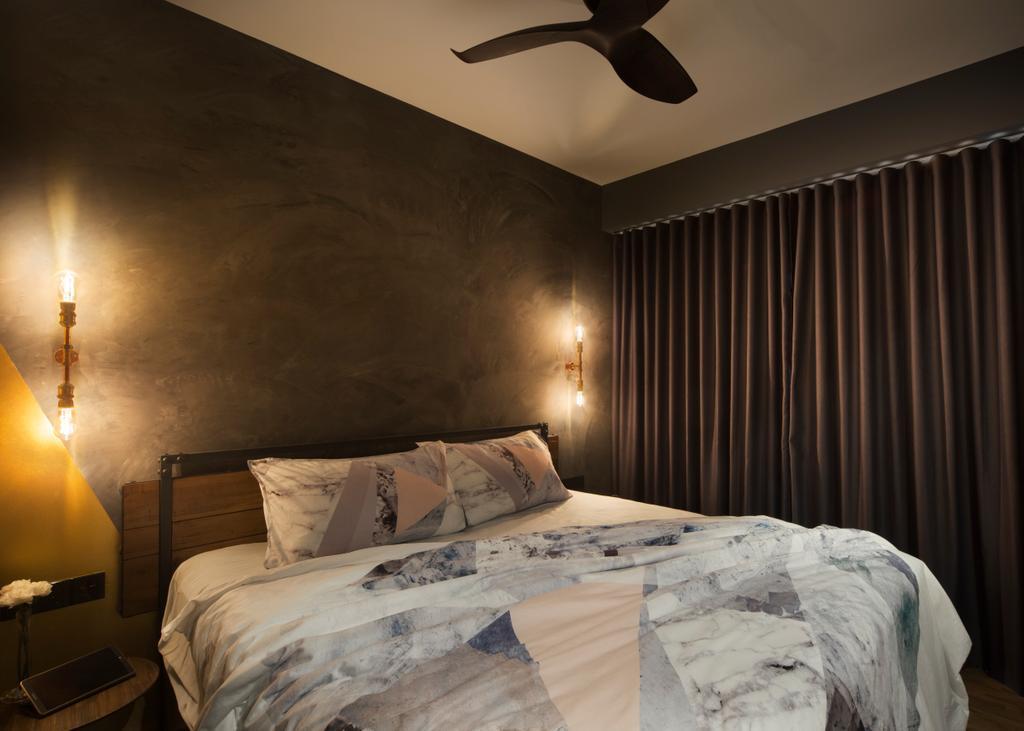 Industrial, Condo, Bedroom, Twin Fountains, Interior Designer, Versaform, Indoors, Interior Design, Room, Bed, Furniture