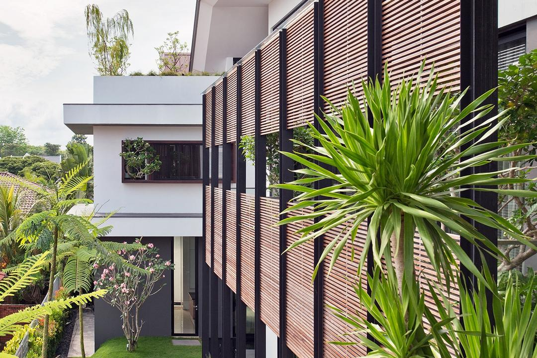 Toh Heights, Kite Studio Architecture, Contemporary, Landed, Facade, Exterior, Ventilation, Vents, Plants, Landscaping, Flora, Jar, Plant, Potted Plant, Pottery, Vase, Building, House, Housing, Villa