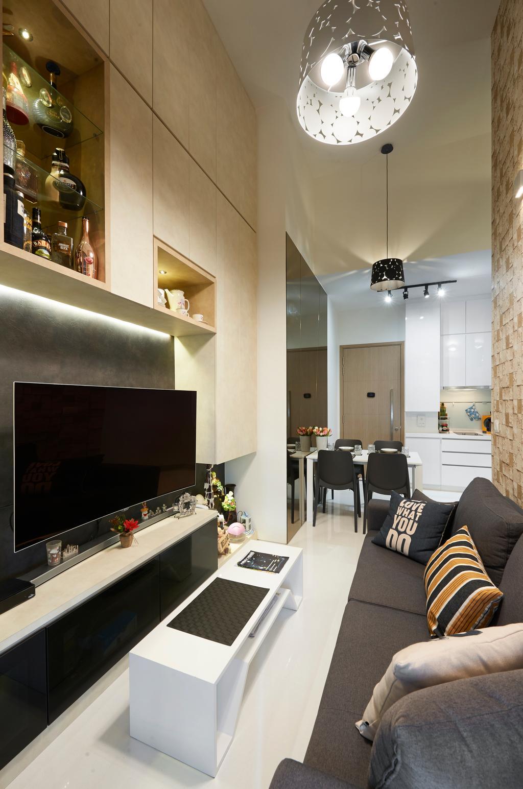 Contemporary, Condo, Living Room, Cambio Suites, Interior Designer, U-Home Interior Design, Dining Table, Furniture, Table, Lamp, Lampshade, HDB, Building, Housing, Indoors, Loft