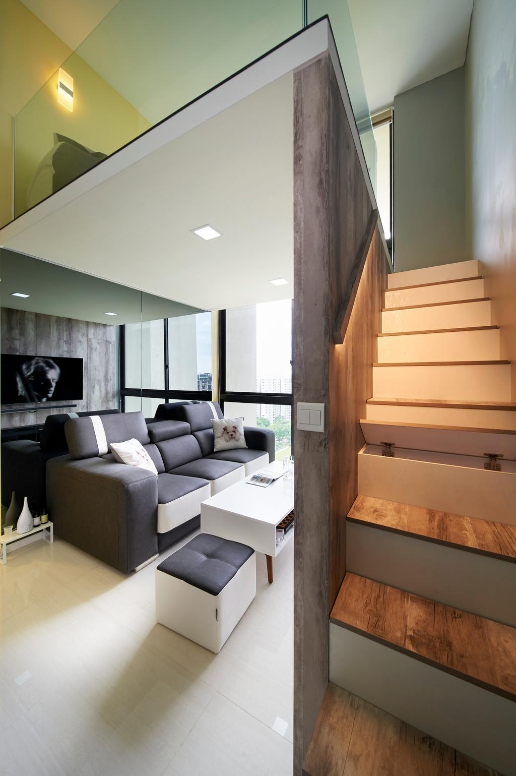 Contemporary, Condo, The Amore, Interior Designer, U-Home Interior Design, Door, Sliding Door, Couch, Furniture