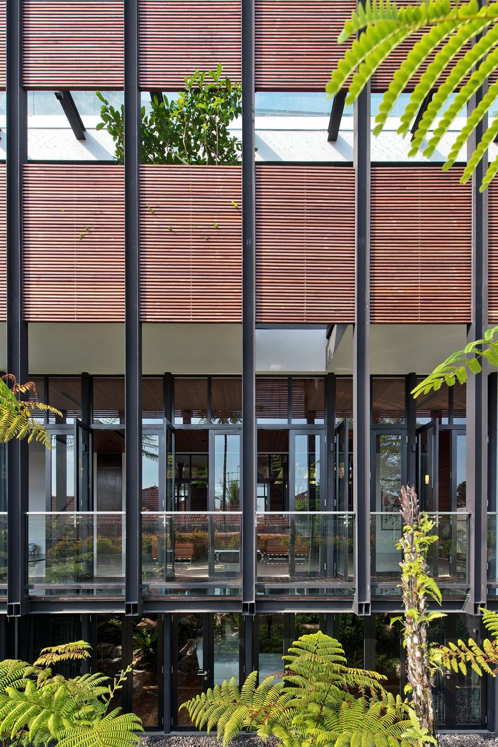 Contemporary, Landed, Garden, Toh Heights, Architect, Kite Studio Architecture, Plants, Glass, Wood, Facade, Exterior, Ventilations, Vents, Porch