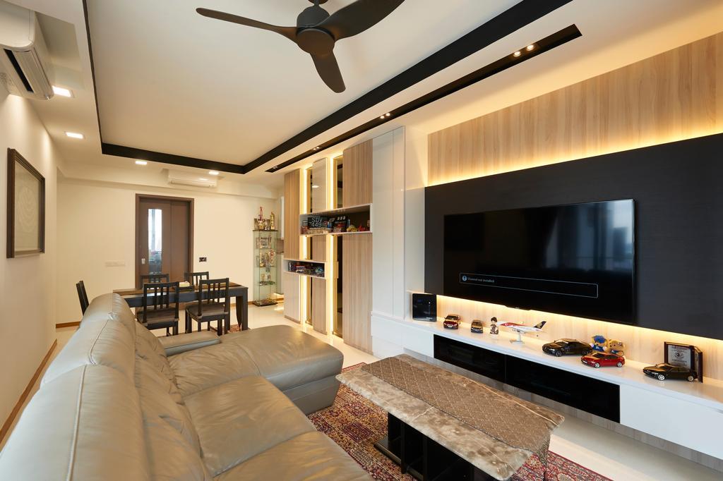 Contemporary, Condo, Living Room, Vue 8, Interior Designer, U-Home Interior Design, Architecture, Building, Skylight, Window, Corridor, Lighting, Indoors, Interior Design, Room