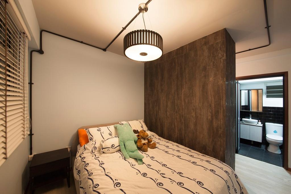 Industrial, HDB, Bedroom, Yishun Avenue 9, Interior Designer, Ace Space Design, Venetian Blinds, Simple, Wardrobe, Pipe, Black Pipe, Woody, Cosy, Light Fixture, Indoors, Interior Design, Room, Bathroom